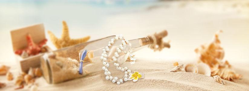 沙滩珍珠项链饰品背景banner