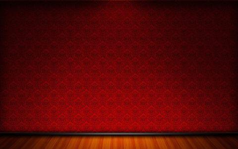 红色花纹墙面地板背景