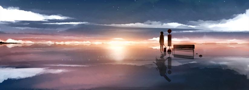 动漫卡通夕阳海滩背景banner