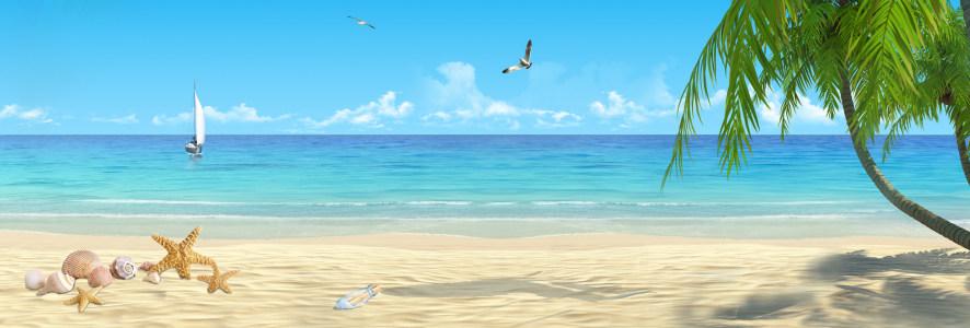 蓝色海洋沙滩淘宝背景