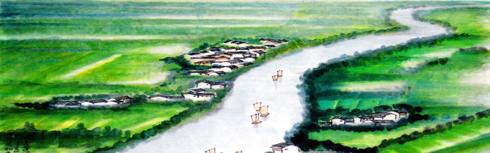 中国风水彩画淘宝海报背景