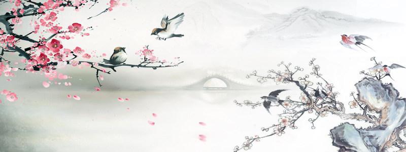 水墨画桃花背景高清背景图片素材下载