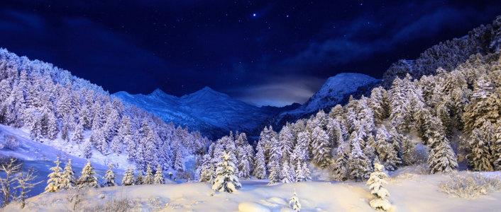 冬季星空浪漫背景