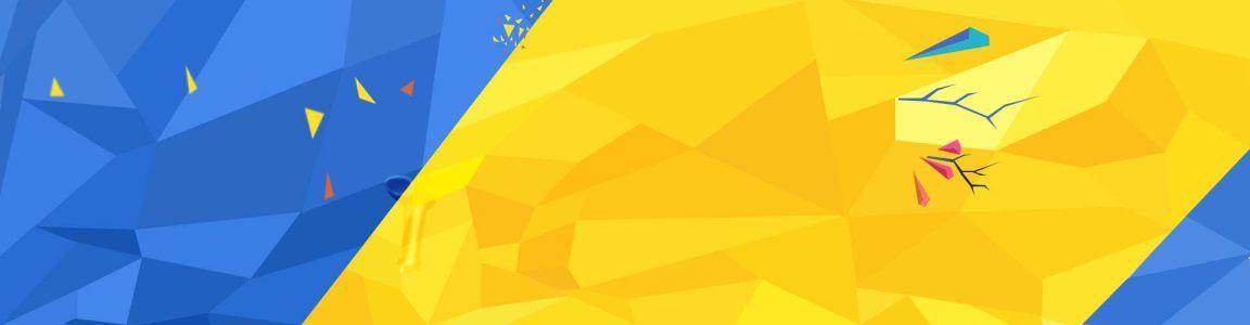 蓝色 黄色 几何形状背景图