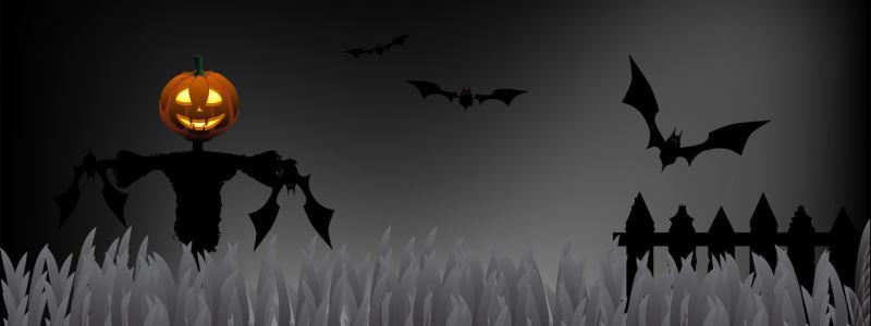 万圣节鬼节南瓜灯蝙蝠背景banner