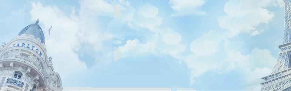 淘宝夏季女装蓝色背景
