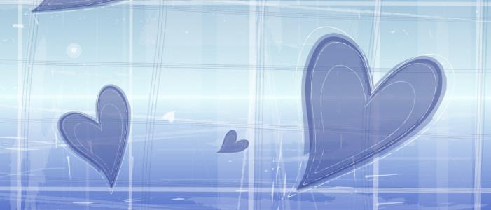 蓝色唯美背景心形美丽背景