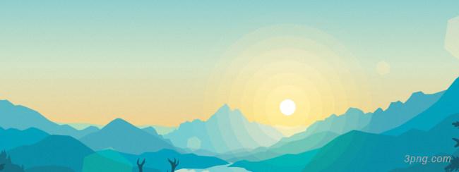 卡通创意夕阳背景背景高清大图-创意背景扁平/渐变/几何