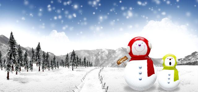 韩国圣诞雪人场景背景banner高清背景图片素材下载