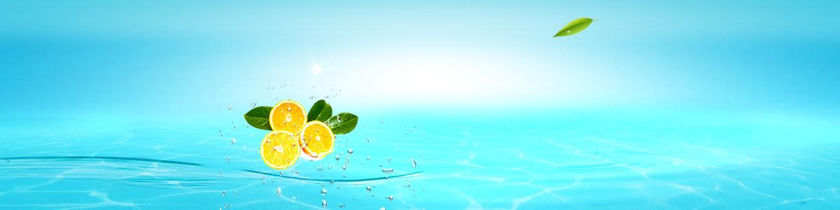 化妆品护肤品面膜清新水滴水珠柠檬背景banner