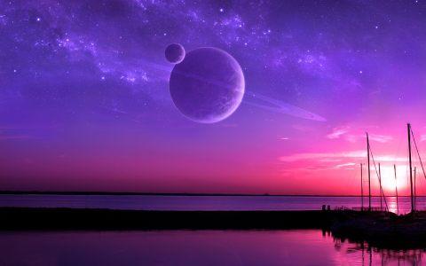紫色星球空间背景