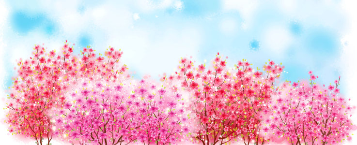卡通手绘樱花背景banner