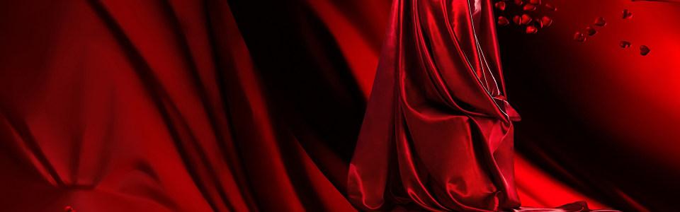 红色丝绸质感红酒背景banner