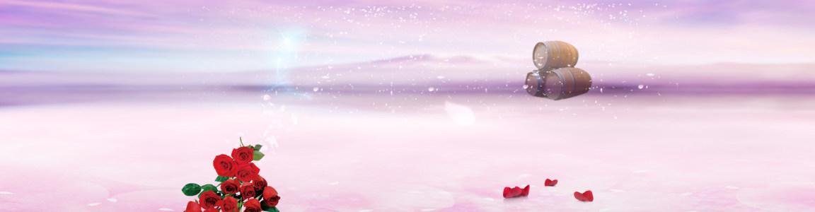 红酒葡萄酒温馨玫瑰背景banner高清背景图片素材下载