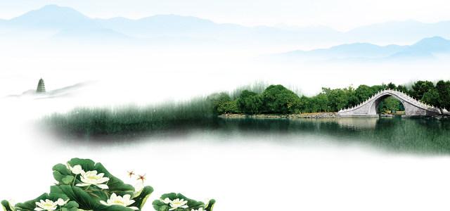 中国风荷花桥远山背景高清背景图片素材下载