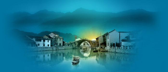 桥江南风景中国风山脉背景banner高清背景图片素材下载
