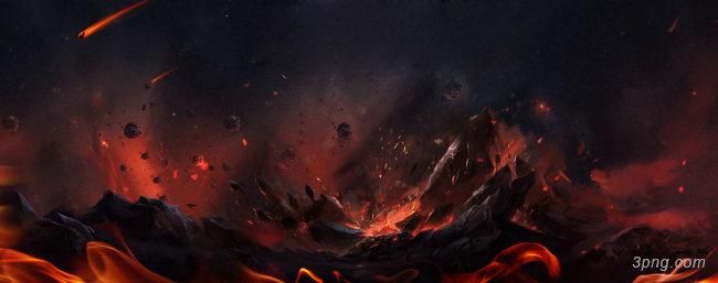 火山爆发背景高清大图-火山背景特效图片