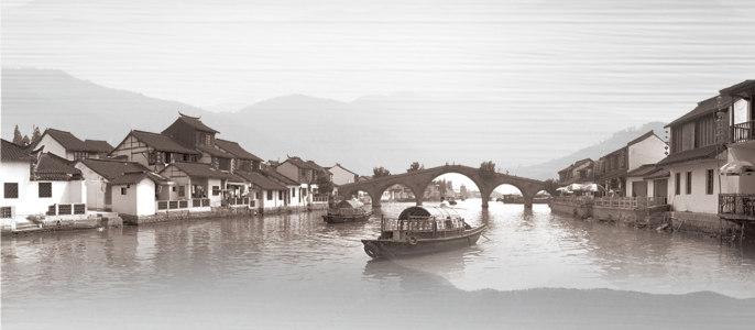桥江南风景中国风渔乡背景banner高清背景图片素材下载