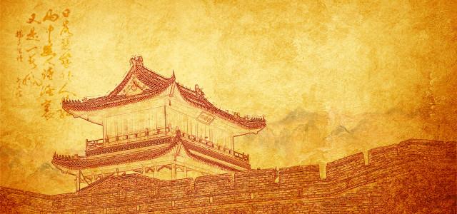 中国风素描古建筑