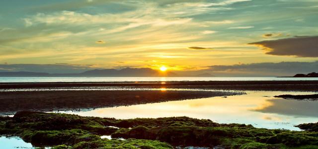 夕阳天空河流背景