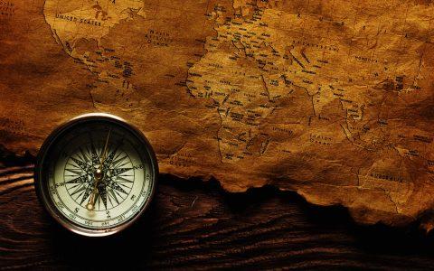 复古牛皮纸世界地图罗盘背景高清背景图片素材下载