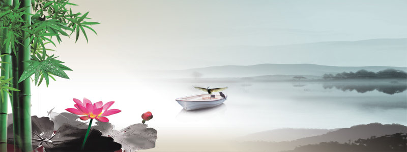 荷花竹子海报高清背景图片素材下载