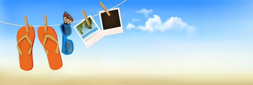 夏日沙滩度假banner背景