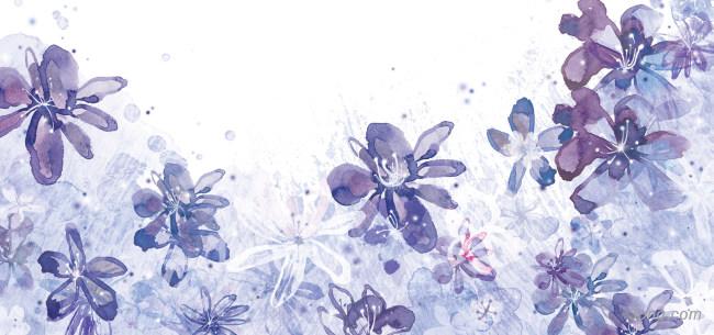 手绘紫色花朵背景背景高清大图-手绘背景自然/风光
