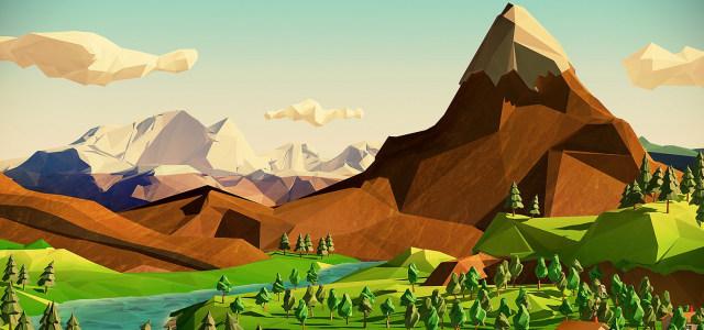卡通天空山峰背景