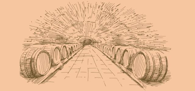 手绘红酒酒窖高清背景图片素材下载