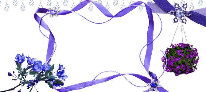 紫色花朵飘带背景