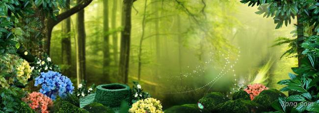 唯美绿色森林淘宝海报背景背景高清大图-淘宝背景淡雅/清新/唯美