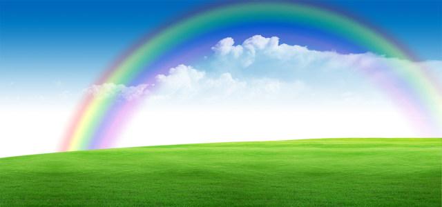 蓝天彩虹绿地背景高清背景图片素材下载