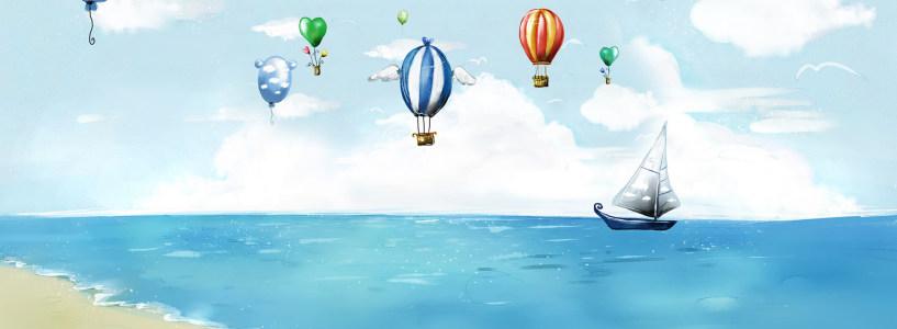 卡通热气球海滩唯美背景banner