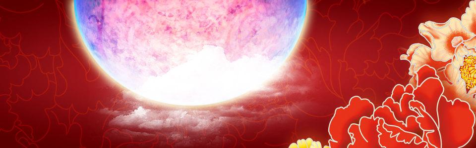 红色月亮牡丹花背景