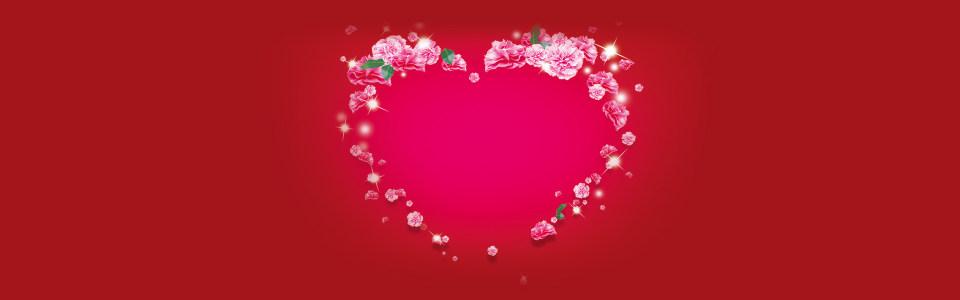 中国红爱心花环情人节海报背景