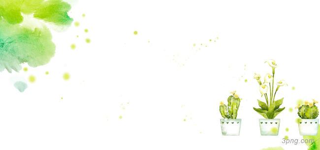 水彩图案与盆里的花卉背景背景高清大图-水彩背景自然/风光