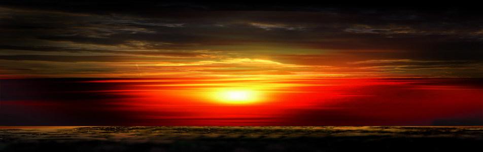 大气壮观夕阳背景