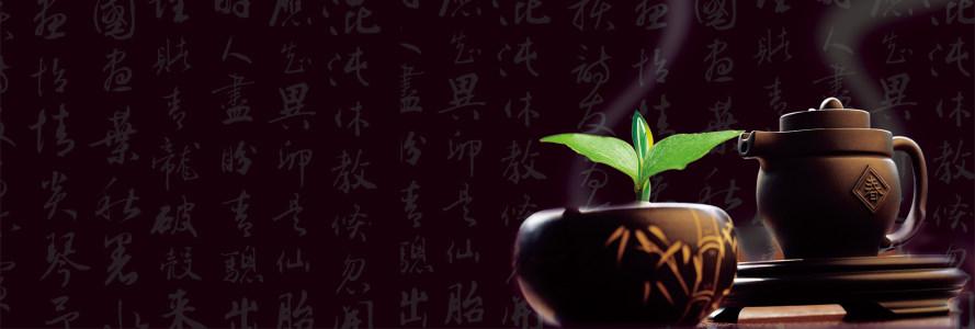 茶叶背景字茶壶幽静banner高清背景图片素材下载