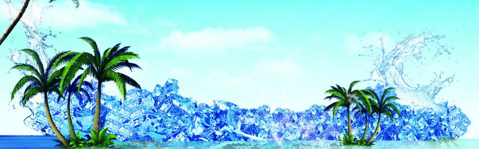 冰块 椰树 蓝天背景图