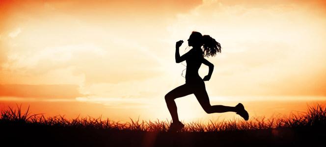 简约跑步的女孩剪影海报背景
