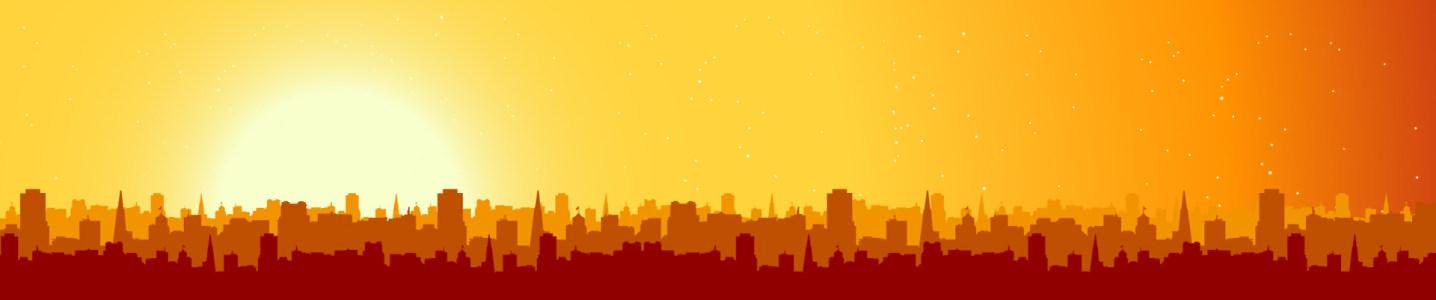 橙色城市剪影banner背景