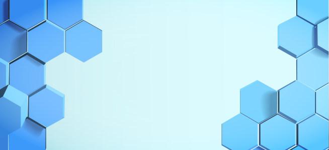 蓝色立体蜂窝装饰banner