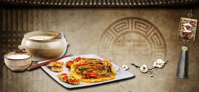 美食饮食高档中国风棉麻纹理花纹背景banner