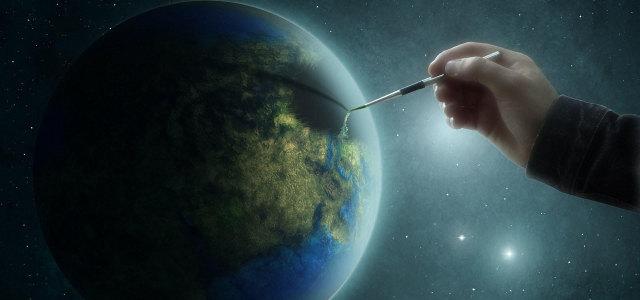 人物手地球背景