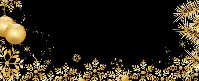 金色雪花装饰圣诞banner背景背景高清大图-雪花背景Banner海报