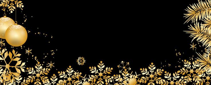金色雪花装饰圣诞banner背景