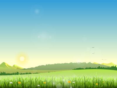 夏季风景插画卡通背景