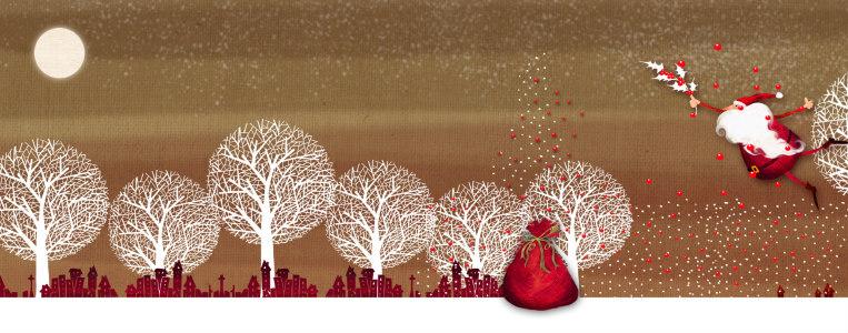 圣诞节冬季树木剪影背景banner