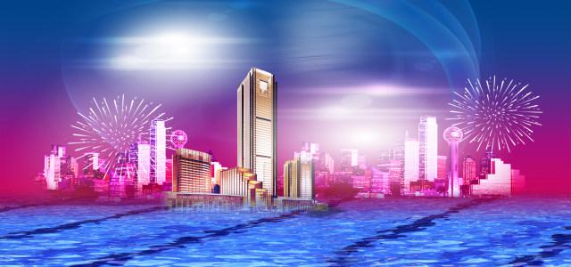 七彩城市背景